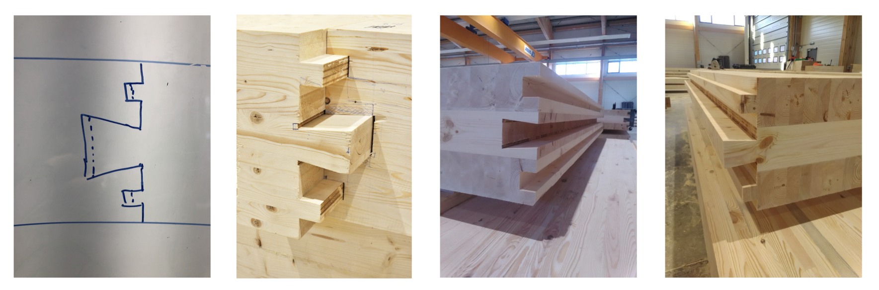 From idea to CNC-manufactured dovetail joint for glulam panels assembly ZAZA TIMBER